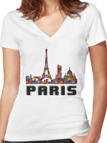 Paris Skyline Made With Lego Like Blocks Women's Fitted V-Neck T-Shirt