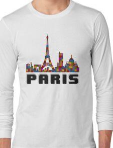 Paris Skyline Made With Lego Like Blocks Long Sleeve T-Shirt