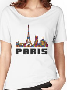 Paris Skyline Made With Lego Like Blocks Women's Relaxed Fit T-Shirt