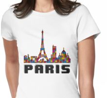 Paris Skyline Made With Lego Like Blocks Womens Fitted T-Shirt