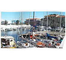 Colorful boats in Beaulieu Poster