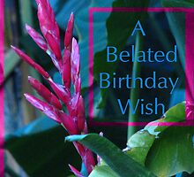 Happy Belated Birthday Card with exotic Red spike by TLCGraphics