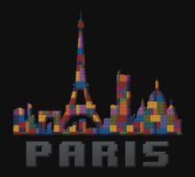 Paris Skyline Made With Lego Like Blocks One Piece - Long Sleeve