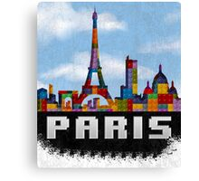 Paris Skyline Made With Lego Like Blocks Canvas Print