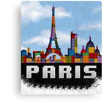 Paris Skyline Made With Lego Like Blocks Canvas Print