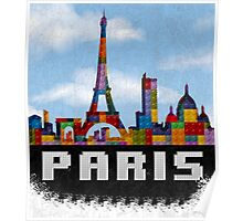 Paris Skyline Made With Lego Like Blocks Poster