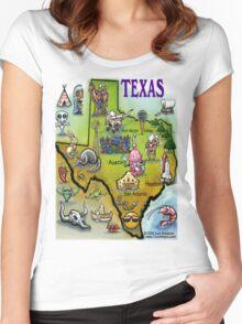 Texas Cartoon Map Women's Fitted Scoop T-Shirt