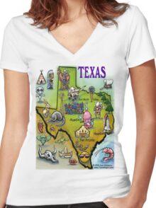 Texas Cartoon Map Women's Fitted V-Neck T-Shirt