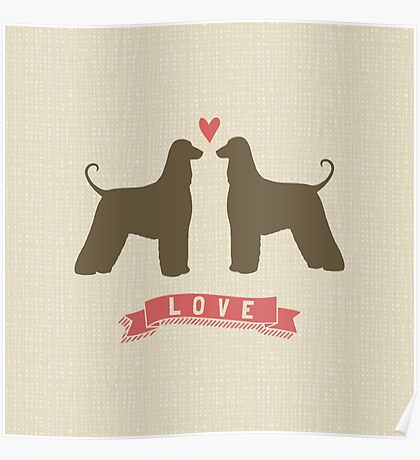 Afghan Hounds in Love Poster