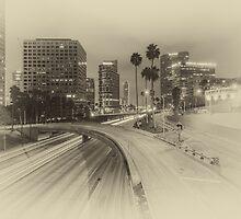 Harbor Freeway - Black and White by Nadim Baki
