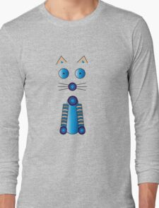Blue Cat Illustration Long Sleeve T-Shirt