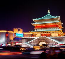 The Bell Tower at night in Xi'an China art photo print by ArtNudePhotos
