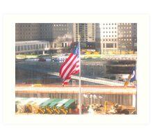911-Flag at Ground Zero Art Print