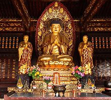 Buddha statue and relics at Giant Wild Goose Pagoda in Xi'an art photo print by ArtNudePhotos
