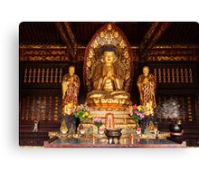 Buddha statue and relics at Giant Wild Goose Pagoda in Xi'an art photo print Canvas Print