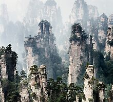 Floating mountains Zhangjiajie National Forest Park art photo print by ArtNudePhotos