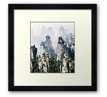 Floating mountains Zhangjiajie National Forest Park art photo print Framed Print