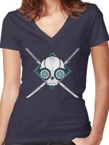 Cyborg Skull Women's Fitted V-Neck T-Shirt