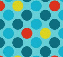 Blue Circles Pattern - Red and Yellow Accents Sticker