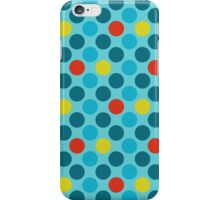 Blue Circles Pattern - Red and Yellow Accents iPhone Case/Skin