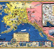 TRAVEL ALASKA FUN MAP 1934 by Daniel-Hagerman