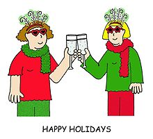 Happy Holidays ladies in festive outfits. by KateTaylor