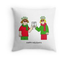 Happy Holidays ladies in festive outfits. Throw Pillow