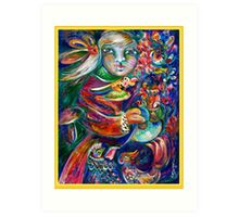 Orphan Child with Flowers Art Print