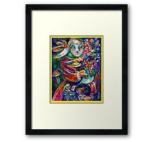 Orphan Child with Flowers Framed Print