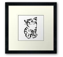 sketch of cat looks up Framed Print