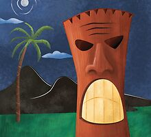 Tiki Warrior at Night by Brooke Glaser