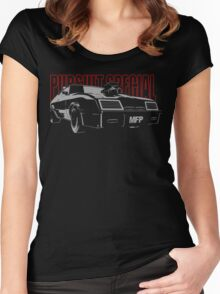 Mad Max Inspired Pursuit Special | Grey - Red Women's Fitted Scoop T-Shirt