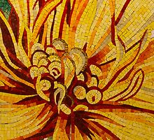 Sparkling, Intricate Golds and Yellows - a Floral Ceramic Tile Mosaic by Georgia Mizuleva