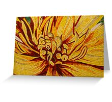 Sparkling, Intricate Golds and Yellows - a Floral Ceramic Tile Mosaic Greeting Card