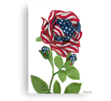 .♥➷♥•* Stars & Stripes Rose For 9-11 In Rememberance.♥➷♥•*¨ Canvas Print