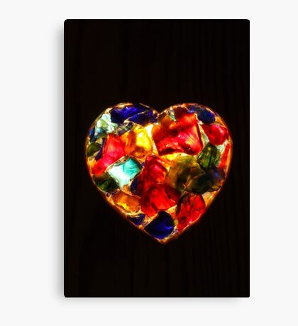 Stained Glass Heart Canvas Print