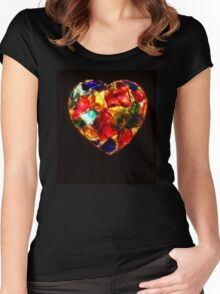 Stained Glass Heart Women's Fitted Scoop T-Shirt