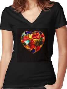 Stained Glass Heart Women's Fitted V-Neck T-Shirt