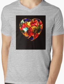 Stained Glass Heart Mens V-Neck T-Shirt