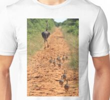 Ostrich Family - Running after Mom. Unisex T-Shirt