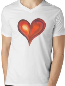 Colorful Abstract Heart Mens V-Neck T-Shirt