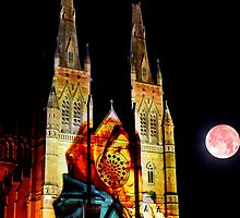Mother Mary with baby Jesus watches the moon - St Mary's by Gary Blackman