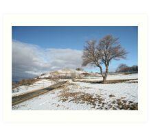 tree in snowy landscape Art Print