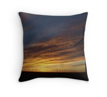 Sunset Behind the Turbines Throw Pillow