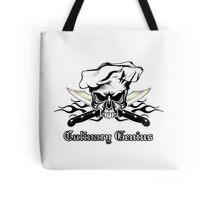 Chef Skull 12: Culinary Genius 3 black flames Tote Bag