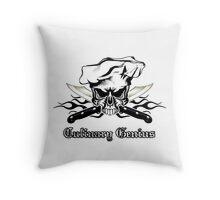 Chef Skull 12: Culinary Genius 3 black flames Throw Pillow