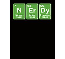 NERDY - written with periodic table elements Photographic Print