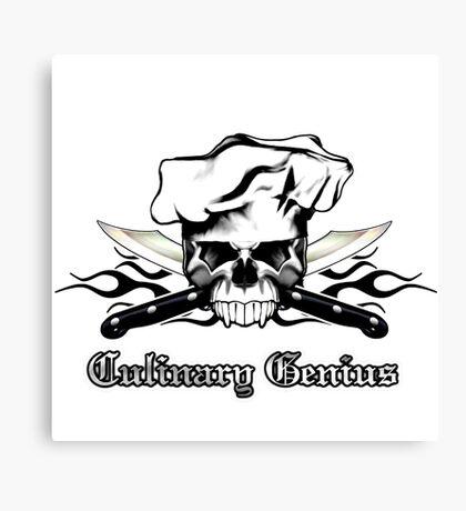 Chef Skull 13: Culinary Genius 3 black flames Canvas Print
