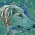 Saluki Dog Portrait Painting by Michelle Wrighton