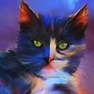 Meesha Colourful Cat Painting by Michelle Wrighton